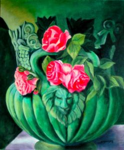 19 Vase médicis aux roses