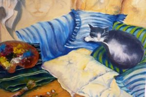 chat dormant - acrylique