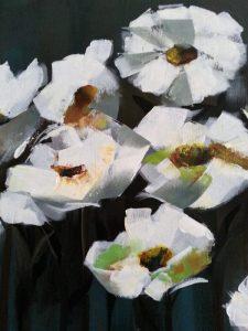 fleurs blanches - acrylique