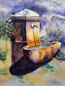 fontaine - aquarelle ,