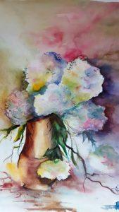 hortensias - aquarelle