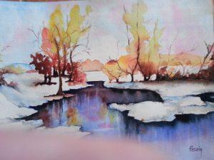 lac gelé - aquarelle