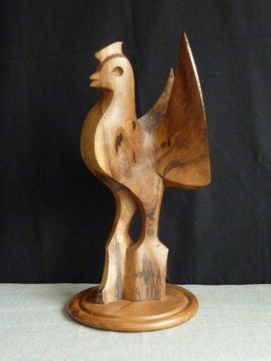(060) Coq, noyer, 49 cm