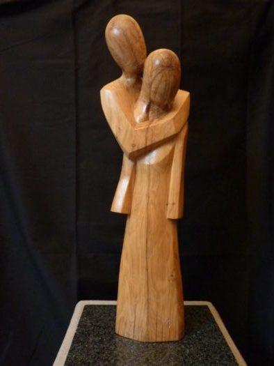 (094) Coeur partagé, chêne, 61 cm